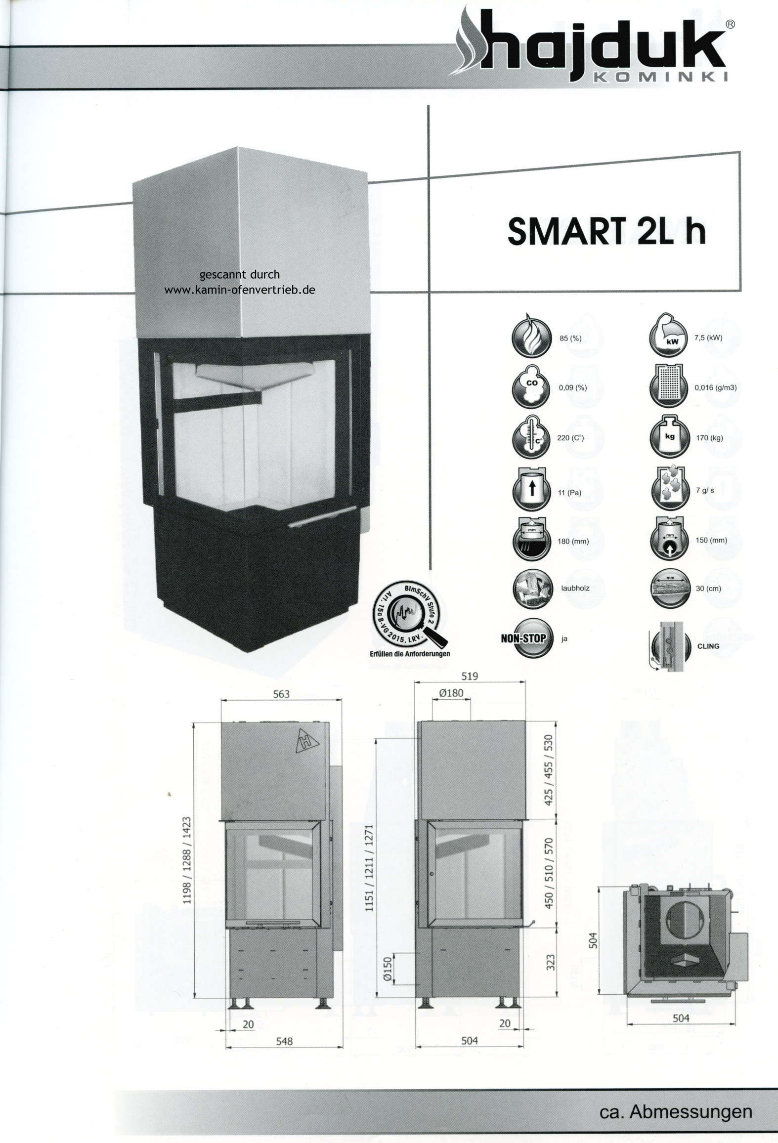 hajduk kamineinsatz smart 1vh1vht 2lh 2lp t qualit t aus polen. Black Bedroom Furniture Sets. Home Design Ideas