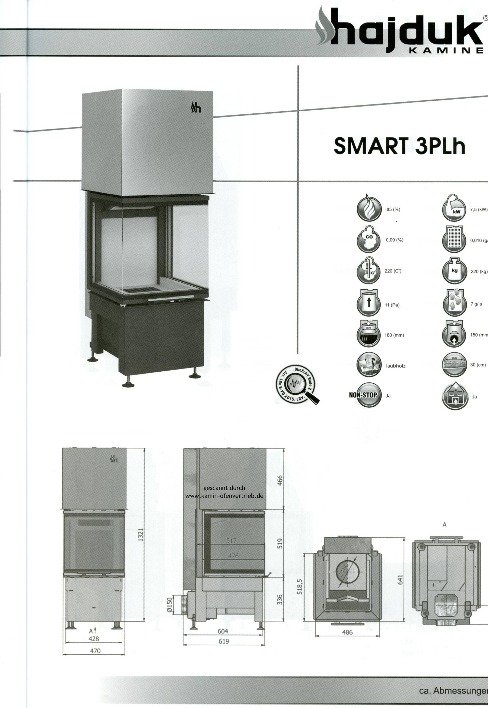 hajduk kamineinsatz smart 3plh preis ab 2445 eur qualit t. Black Bedroom Furniture Sets. Home Design Ideas