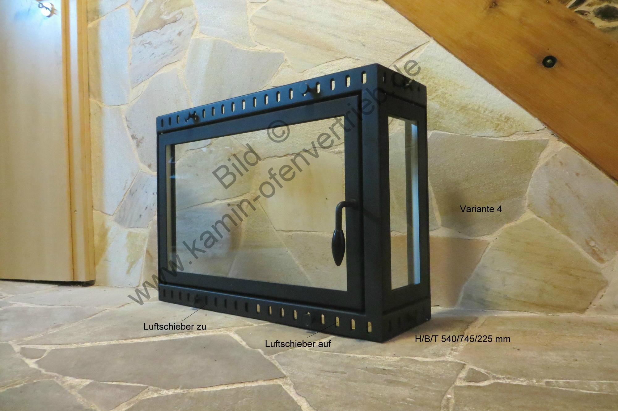 Kamintür Mit Glas Mit Seitenfenster Für Offenen Kamin Variante 4